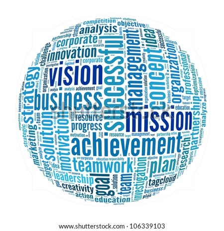 Vision and Mission in word collage - stock photo
