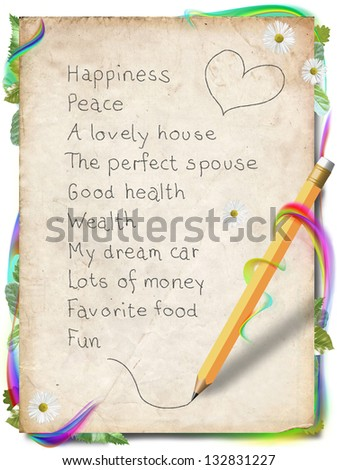Vision board for Law of Attraction - stock photo