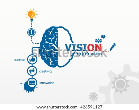 Vision concept and brain. Hand writing Mentoring with blue marker raster version - stock photo