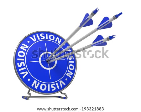 Vision Concept. Three Arrows Hit in Blue Target. - stock photo