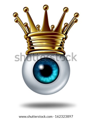 Vision leadership business concept symbol and best leader in security monitoring as a human eyeball wearing a gold crown on a white background as an icon of innovation success. - stock photo
