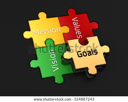 Vision, Mission, Values & Goals | Jigsaw Style - stock photo