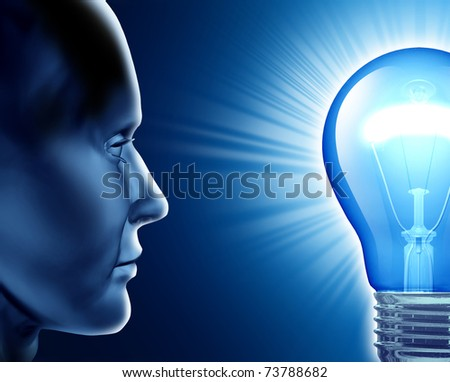 Vision of success symbol representing the human brain and the ideas from creative strength. - stock photo
