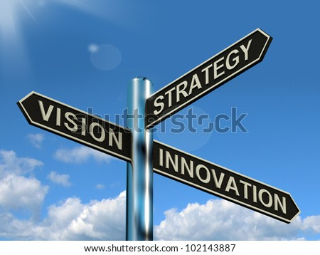 Vision Strategy Innovation Signpost Shows Business Leadership And Ideas - stock photo