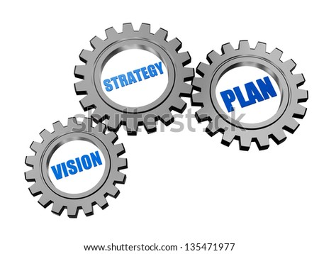 vision, strategy, plan - business concept words in 3d silver grey gearwheels - stock photo