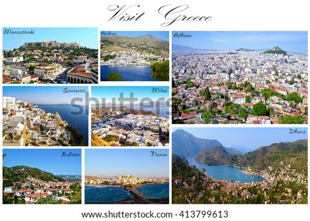 visit Greece collage - greek aerial summer photos - stock photo