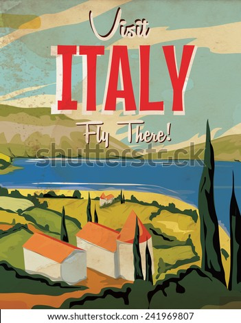 Visit Italy vintage travel poster. - stock photo