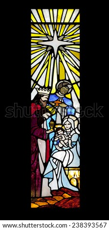 Visit of the three wise men to Jesus child, Maria and Jose. stained Glass - stock photo