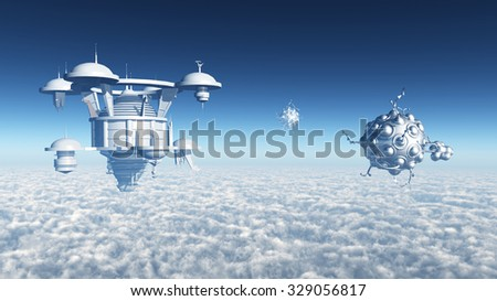 Visitors from Space Computer generated 3D illustration - stock photo