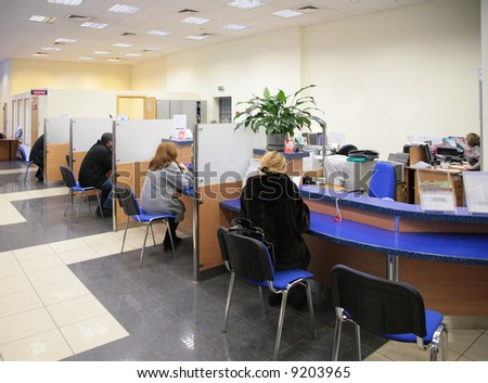 visitors in bank - stock photo