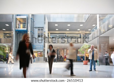 Visitors in business center - stock photo
