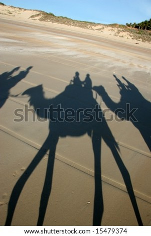Visitors riding camels on Cable Beach, Australia - stock photo