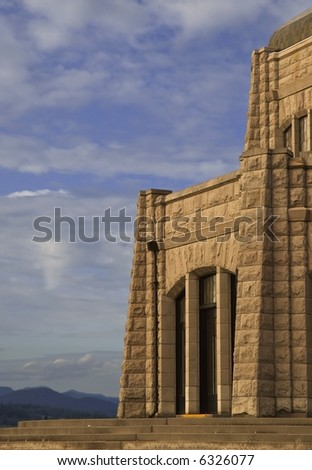 Vista house in the Multanomah in the middle of the columbia river gorge area. - stock photo