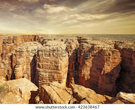 vista of little colorado river gorge at sunset - stock photo