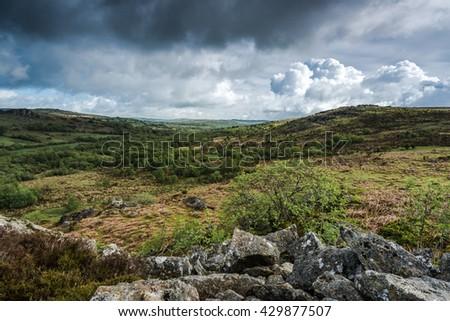 vista on wild landscape in Dartmoor Park Devon, UK - stock photo