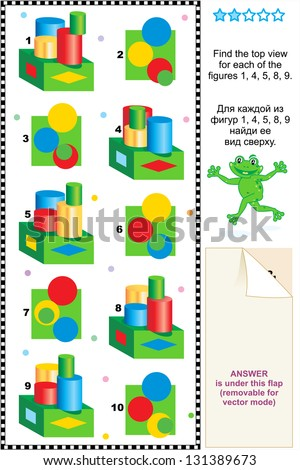 Visual math puzzle: Find the top view for every figure ( for vector EPS see image 131389655 )  - stock photo