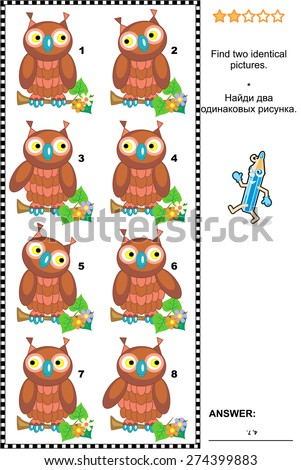 Visual puzzle: Find two identical pictures of cute wise owls. Answer included.  - stock photo