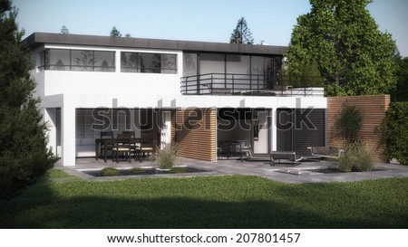 Visualization of a new house - stock photo