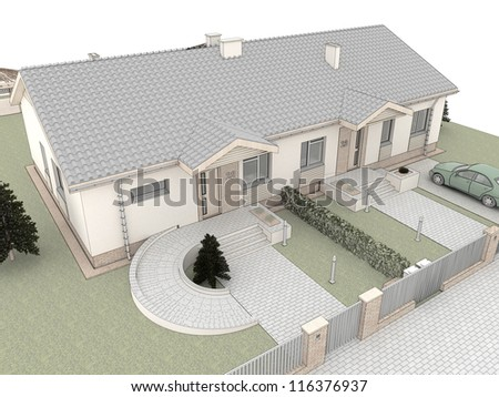 Visualization of modern house with garden.Top view. - stock photo