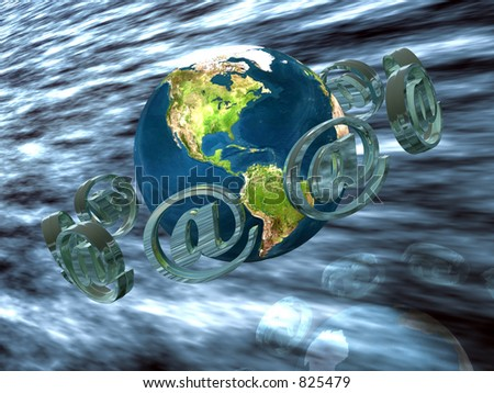 Visualization of the world wide mail concept.  3D illustration, wallpaper, ocean with mail logo circulating around the  planet earth and clouds. - stock photo