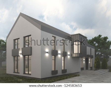 Visualizations of modern house. Foggy autumn weather, contemporary european architecture. - stock photo