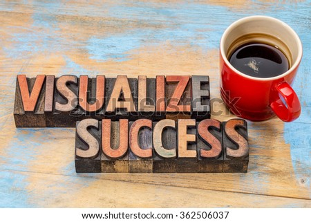 visualize success banner  - text in vintage letterpress wood type blocks stained by color inks against grunge wood with a cup of coffee - stock photo