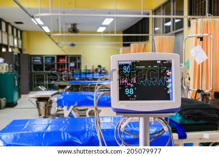 Vital signs monitor in hospital infirmary 	 - stock photo