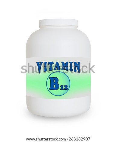 Vitamin B12 container, isolated on a white background - stock photo