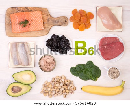 Vitamin B6 containing foods - stock photo