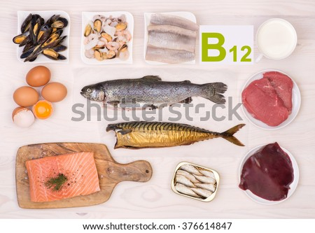 Vitamin B12 containing foods - stock photo