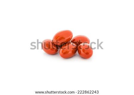 Vitamin capsules isolated on white background - stock photo