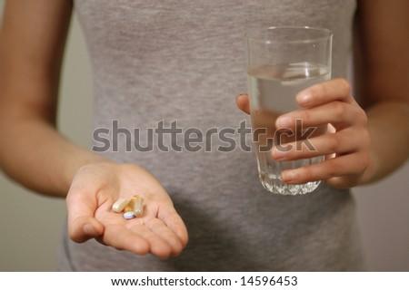 vitamins and water - stock photo