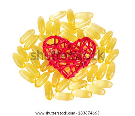 Vitamins omega 3, isolate on white background - stock photo