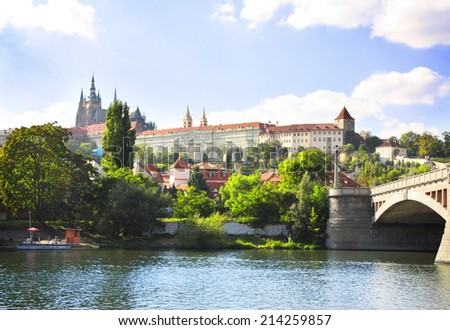 Vitava river and St. Vitus Cathedral in Prague, Czech republic - stock photo