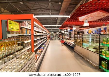 "VITEBSK, BELARUS - JULY 19: Shopping center ""Hanna"" on july 19, 2012 in Vitebsk, Belarus. ""Hanna"" is one of the largest Belarusian companies  - stock photo"