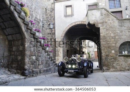 VITERBO (VT), ITALY - MAY 16: A dark blue Lagonda 2 Litre takes part to the 1000 Miglia classic car race on May 16, 2015 in Viterbo (VT). The car was built in 1931 - stock photo