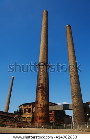 Vitkovice Ostrava three factory chimneys - stock photo