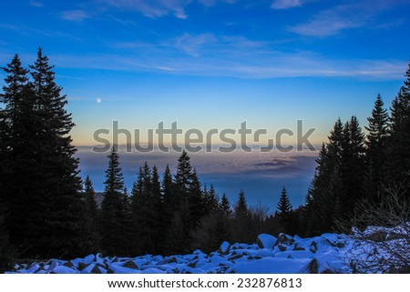 Vitosha Mountain in the winter,near Sofia, Bulgaria - stock photo