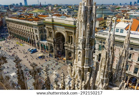 Vittorio Emanuele Gallery and piazza del Duomo in Milan, Italy - stock photo