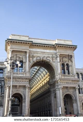 Vittorio Emanuele Gallery - Duomo's Square Milan,Italy - stock photo