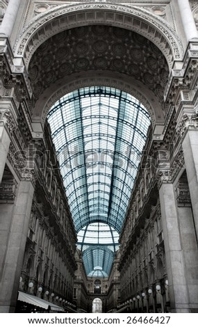 vittorio emanuele gallery in Milan, italian shopping mall - stock photo