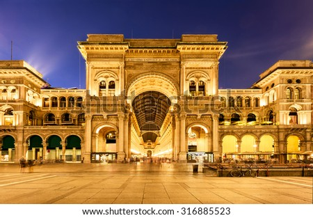 Vittorio Emanuele II Gallery in Milan, Italy - stock photo