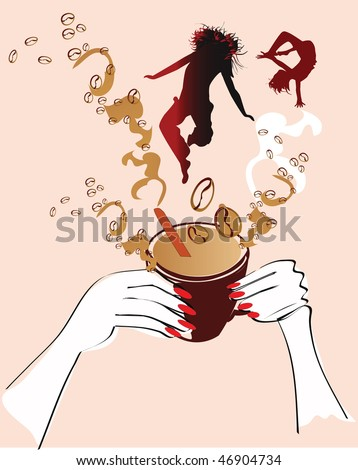Vivacity of a cup of coffee with energetic girls - stock photo