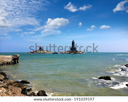 Vivekananda Rock Memorial and Thiruvalluvar Statue, Kanyakumari, India  - stock photo