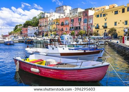 vivid beautiful Procida island, Italy - stock photo