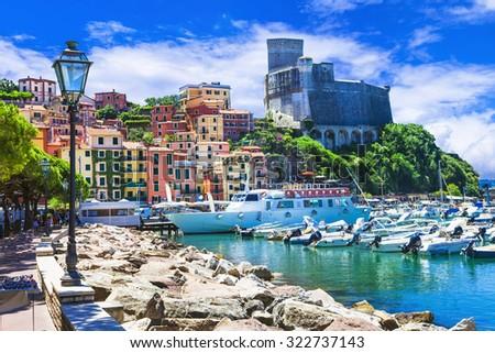 Vivid beautiful town Lerici in Liguria, Italy - stock photo