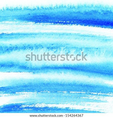 Vivid blue watercolor hand painted brush strokes, striped background  - stock photo