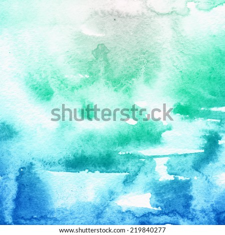 Vivid blue watercolor hand painted brush strokes, striped background. Aquarelle texture.  - stock photo