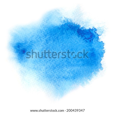 Vivid blue watercolor or ink stain with aquarelle paint blotch - stock photo