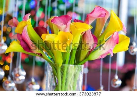 Vivid flowers bouquet arrange for decoration in vase. - stock photo
